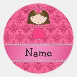 Damasco rosado personalizado de la princesa conoci etiqueta redonda