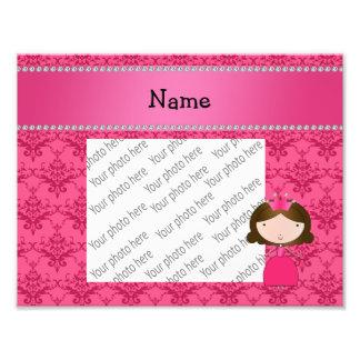 Damasco rosado personalizado de la princesa conoci impresiones fotograficas