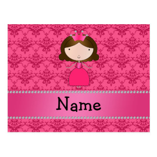 Damasco rosado personalizado de la princesa conoci postales