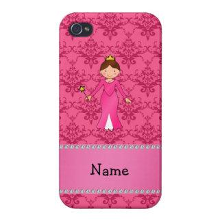 Damasco rosado personalizado de la princesa rosada iPhone 4 protector