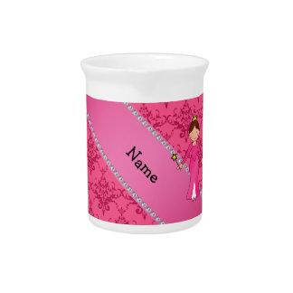 Damasco rosado personalizado de la princesa rosada jarras