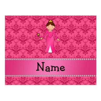 Damasco rosado personalizado de la princesa rosada tarjeta postal