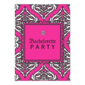 """Damasco rosado prominente con el marco decorativo invitación 4.5"""" x 6.25"""""""
