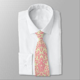 Damasco rosado y amarillo corbatas