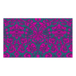 Damasco rosado y azul brillante tarjeta de negocio