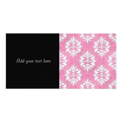 Damasco rosado y blanco femenino tarjetas fotograficas personalizadas