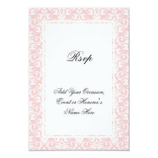 """Damasco rosado y blanco que hace juego la tarjeta invitación 3.5"""" x 5"""""""