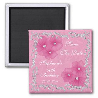 Damasco rosado y cumpleaños de las flores 50.o imán cuadrado