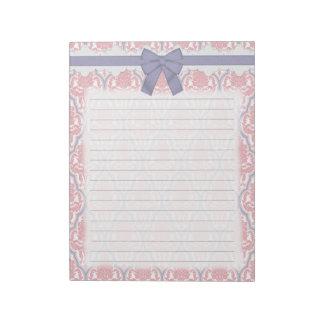 Damasco rosado y de la lila elegante lamentable blocs de notas