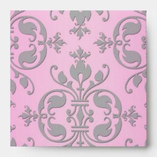 Damasco rosado y gris femenino lindo