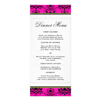 Damasco rosado y negro con el menú delgado verde d lonas