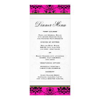 Damasco rosado y negro con el menú delgado verde lona
