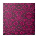 Damasco rosado y negro de neón azulejo cerámica