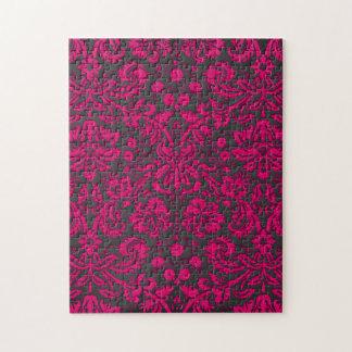 Damasco rosado y negro de neón rompecabezas con fotos