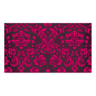 Damasco rosado y negro de neón tarjetas de visita