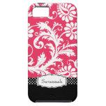 Damasco rosado y negro del vintage personalizado iPhone 5 Case-Mate carcasa
