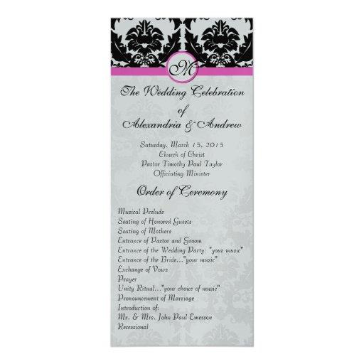 """Damasco rosado y negro en el boda metálico de invitación 4"""" x 9.25"""""""