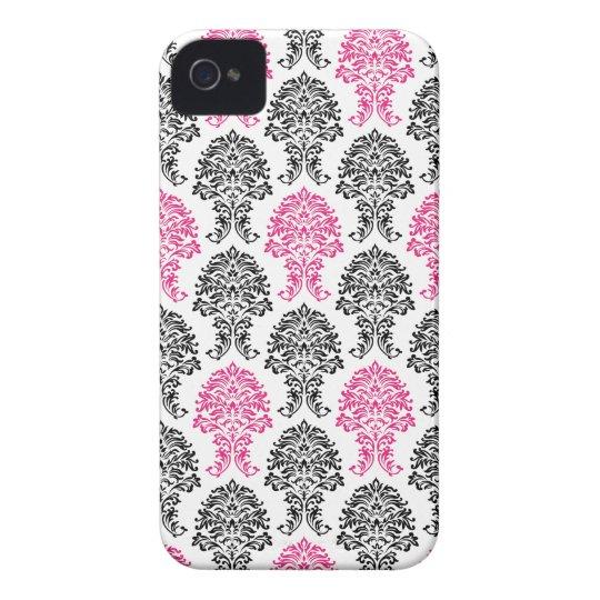 Damasco rosado y negro funda para iPhone 4 de Case-Mate