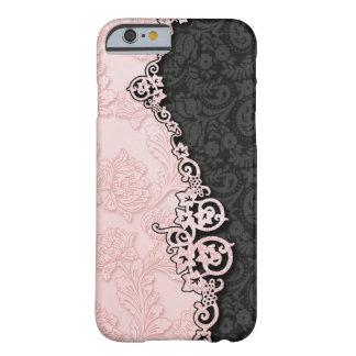 Damasco rosado y negro grabado en relieve vintage funda para iPhone 6 barely there