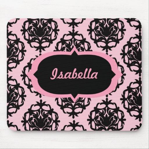 Damasco rosado y negro personalizado Mousepad