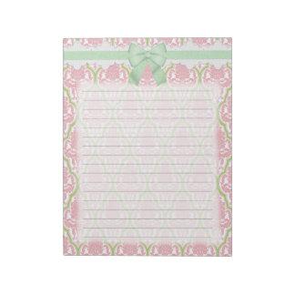 Damasco rosado y verde elegante lamentable bloc de notas