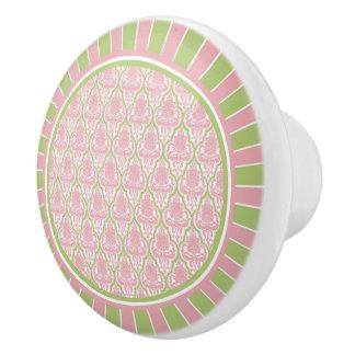 Damasco rosado y verde elegante lamentable pomo de cerámica