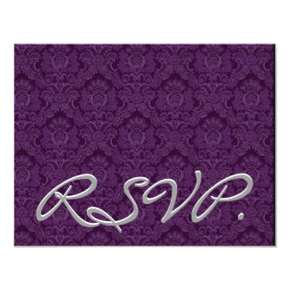 """Damasco RSVP de la púrpura real que casa la Invitación 4.25"""" X 5.5"""""""