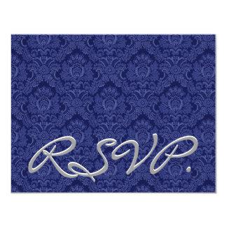 Damasco RSVP del azul real que casa la tarjeta de Invitación 10,8 X 13,9 Cm