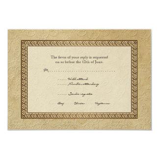 """Damasco RSVP elegante formal floral del brocado Invitación 3.5"""" X 5"""""""