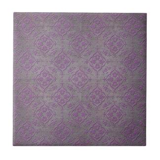 Damasco rústico del gris púrpura y de acero azulejo cuadrado pequeño