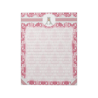 Damasco subió y rosado del monograma de encargo bloc de papel