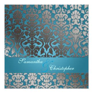 """Damasco/trullo de la flora del platino de invitación 5.25"""" x 5.25"""""""