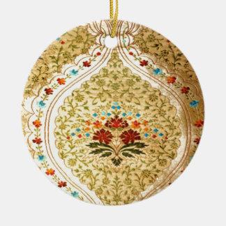 Damasco veneciano de oro adorno navideño redondo de cerámica