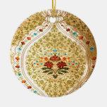 Damasco veneciano de oro adorno redondo de cerámica