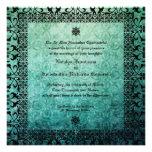 Damasco verde adornado cuadrado Invitati que se ca Comunicados Personalizados