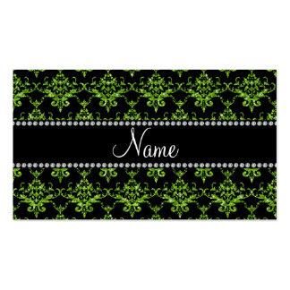 Damasco verde claro conocido personalizado plantillas de tarjetas personales