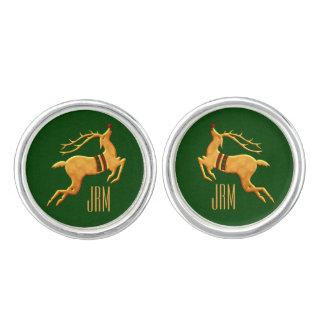 Damasco verde con monograma del reno de oro mancuernillas