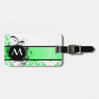 Damasco verde con monograma etiquetas para maletas