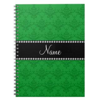 Damasco verde conocido personalizado libro de apuntes
