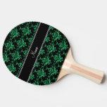 Damasco verde conocido personalizado del brillo pala de ping pong