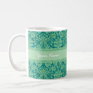 Damasco verde de encargo tazas de café