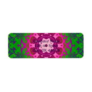 damasco verde de Fuschia del ombre abstracto Etiquetas De Remite