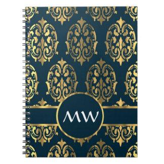 Damasco verde del oro y del trullo spiral notebooks