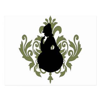 Damasco verde del Victorian con la silueta Postales