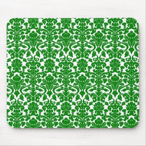Damasco verde floral adornado Mousepad del vintage