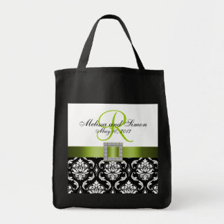 Damasco verde, negro personalizado casando la bolsa tela para la compra