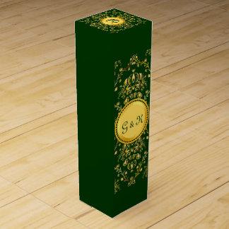Damasco verde oscuro del oro medieval magnífico caja de vino