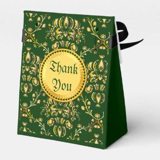 Damasco verde oscuro del oro medieval magnífico cajas para regalos