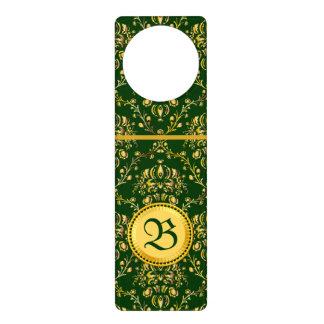 Damasco verde oscuro del oro medieval magnífico colgador para puerta