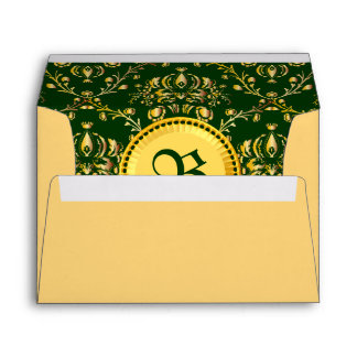 Damasco verde oscuro del oro medieval magnífico de sobres